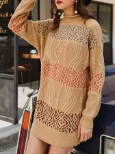 Mock Neck Printed Long Sleeve Sweater Dress