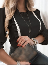 Stylish Ruffled Splicing Lace Blouse For Ladies