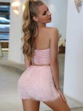 Backless Off Shoulder Solid Strapless Dresses