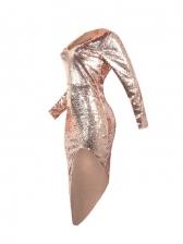 Sexy V Neck Nightclub Irregular Hem Long Sleeve Dress