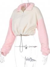 Contrast Color Preppy Style Turndown Collar Sweatshirt