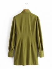 Korea Solid Ruched Long Sleeve Shirt Dress