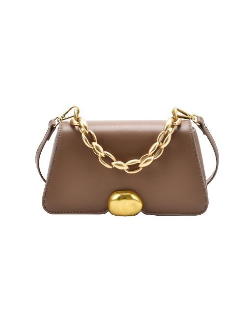 Simple Chain Handle Solid Color Shoulder Bag
