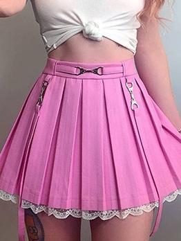 Lace Trim High Waist Pleated Mini Skirt