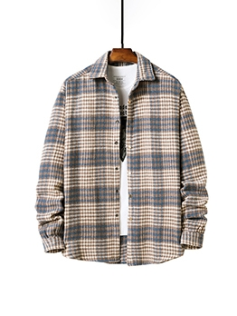 New Plaid Long Sleeve Shirt Coat
