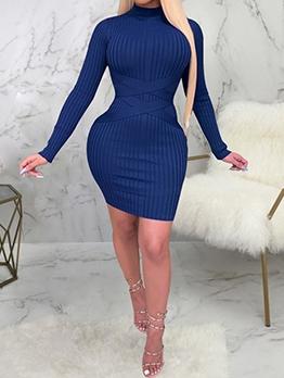 Slim Sexy Long Sleeve Bodycon Dress For Ladies