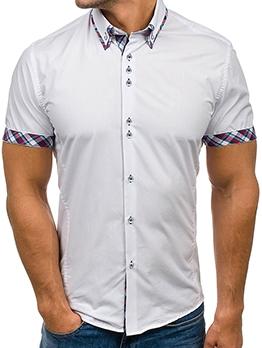 Summer Plaid Short Sleeve Shirt Men