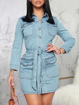 Casual OL Style Slim Turndown Collar Denim Dress