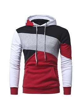 Contrast Color Pocket Hoodie For Men