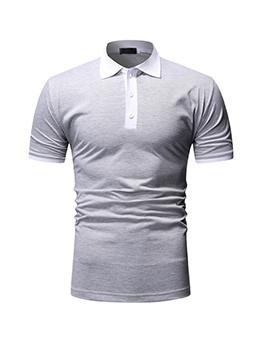 Contrast Color Casual Polo Shirt Men