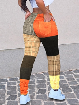Contrast Color Plaid Long Pants For Ladies