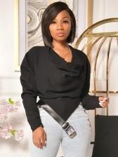 Chic Belt Patchwork Irregular Long Sleeve Blouse
