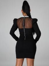 Gauze Patchwork Rhinestone Collar Long Sleeve Dress