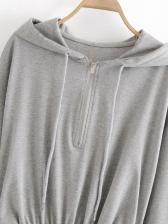 Chic Solid Color Half Zip Hoodie Dress