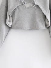 Autumn Solid Color Two Piece Cropped Hoodie