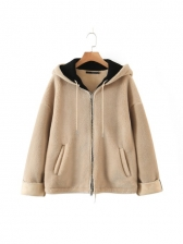 Casual Zipper Up Lambswool Hooded Ladies Coats