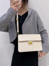 Twist Lock Rhombic Pattern Shoulder Bags For Women