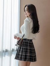 Square Neck Plaid Pleated Top And Skirt Set