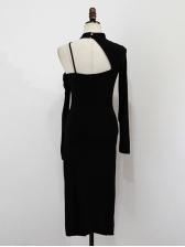 Halter Shoulder Off Slit Long Sleeve Dress