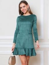 Spring Solid Ruffled Slim Long Sleeve Short Dress