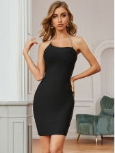 Sexy Backless Solid Color Halter Bodycon Dresses