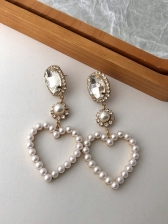 Vintage Faux-Pearl Heart Shape Party Earrings