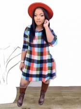 Plaid Printed Autumn Trendy Long Sleeve Dress