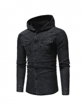 Casual Washable Denim Hoodie Outwear