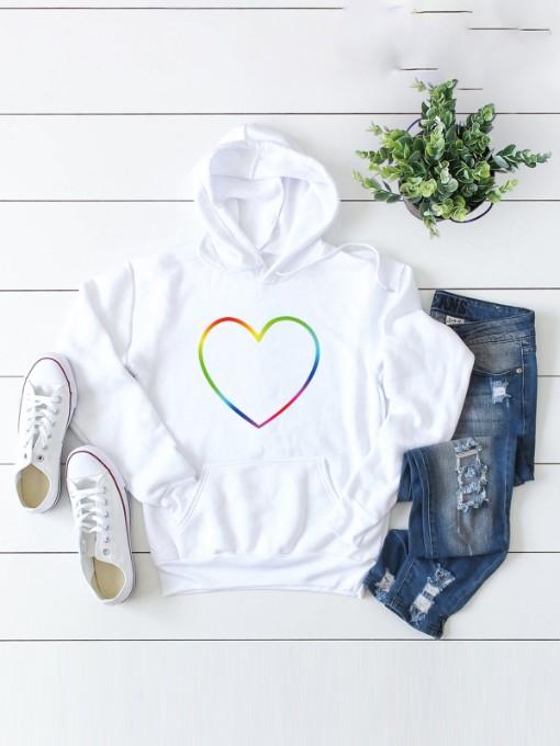 Colorful Heart Print Women Hoodie Casual