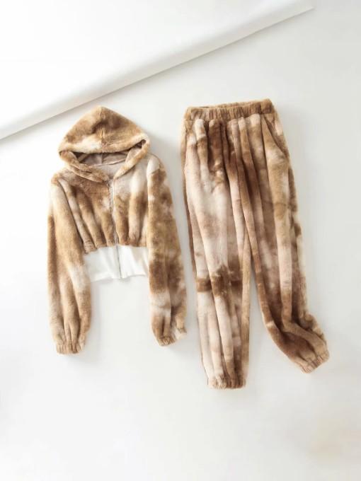 Tie Dye Winter Plush Fashion Two Pieces Outfits