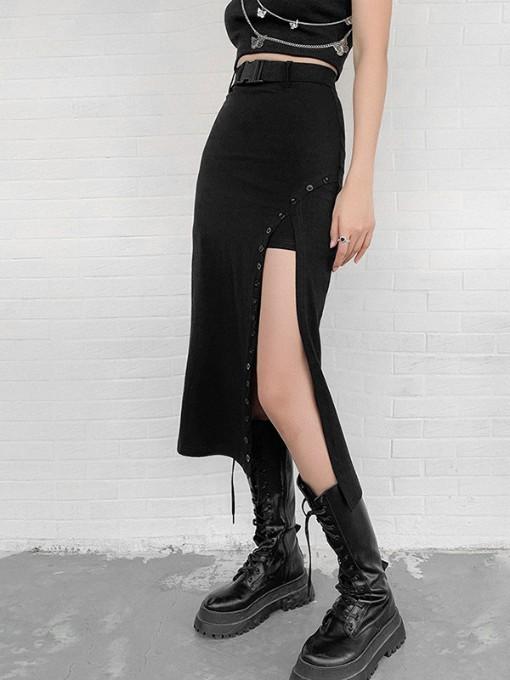 New Solid High Waist Vent Midi Skirt