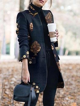 Retro Printed Long Sleeve Stand Collar Ladies Coats
