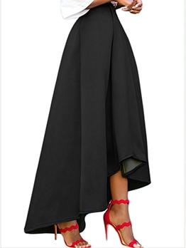 Pure Color Irregular Hem Winter Women Skirt