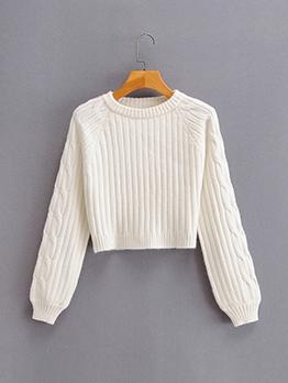 New White Crew Neck Pullover Sweater