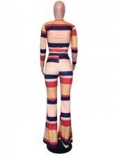 Color Block Crew Neck Flare Trouser Co Ord