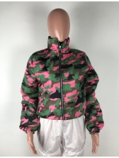 Winter Camouflaged Short Jacket For Women