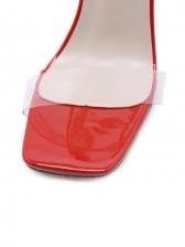 Square Neck Chain Strap Heel Sandal