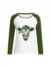 Crew Neck Cartoon Animal Printed Tee Shirts