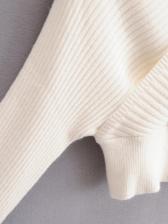 Autumn New White V Neck Sweater