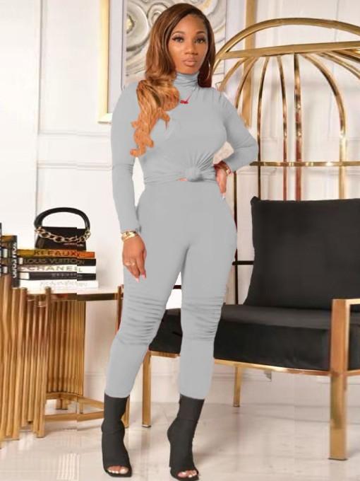 Pure Color Turtleneck Skinny Women Sets