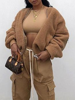 Winter Plush Solid Short Coat Women