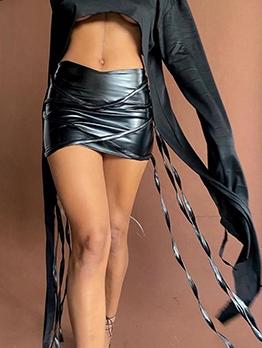 Chic Design Faux Leather Mini Skirt