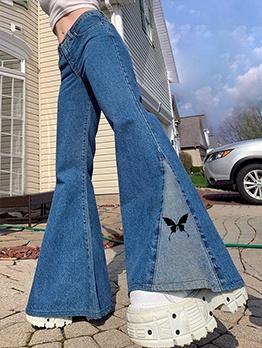 Butterfly Print High Waist Flare Jeans