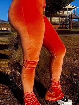 Pure Color Skinny Velvet Bootcut Pants