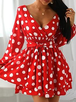 V Neck Polka Dot A-line Long Sleeve Dress