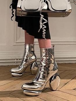 Chic Solid Unique Heel Design Womens Boots