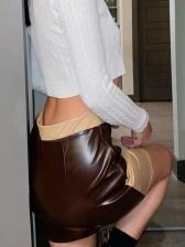 Colorblock High Waist Pu Short Skirt