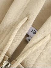 Grunge Style Solid Fleece Zipper Up Hoodies