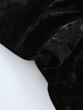 Deep V Neck Black Velvet Vest
