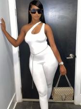 Plain White Irregular Inclined Shoulder Sleeveless Jumpsuit